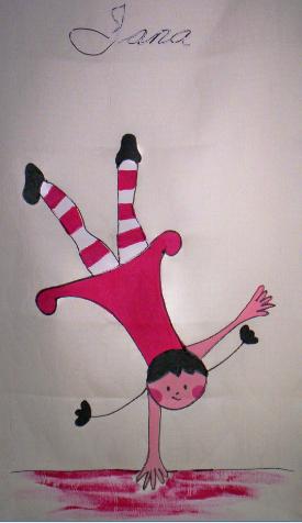 Estor infantil pintado a mano:Jana